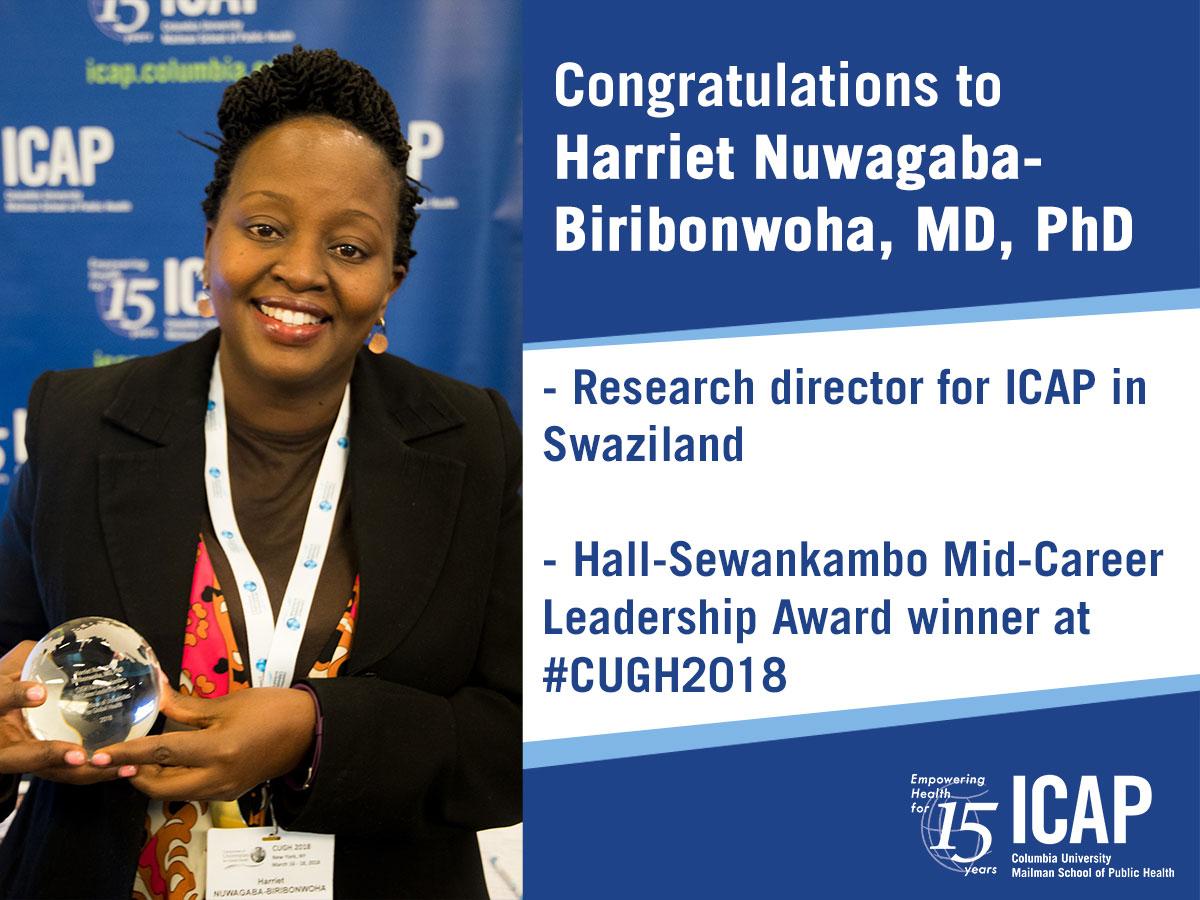 Harriet Nuwagaba-Biribonwoha CUGH 2018 award