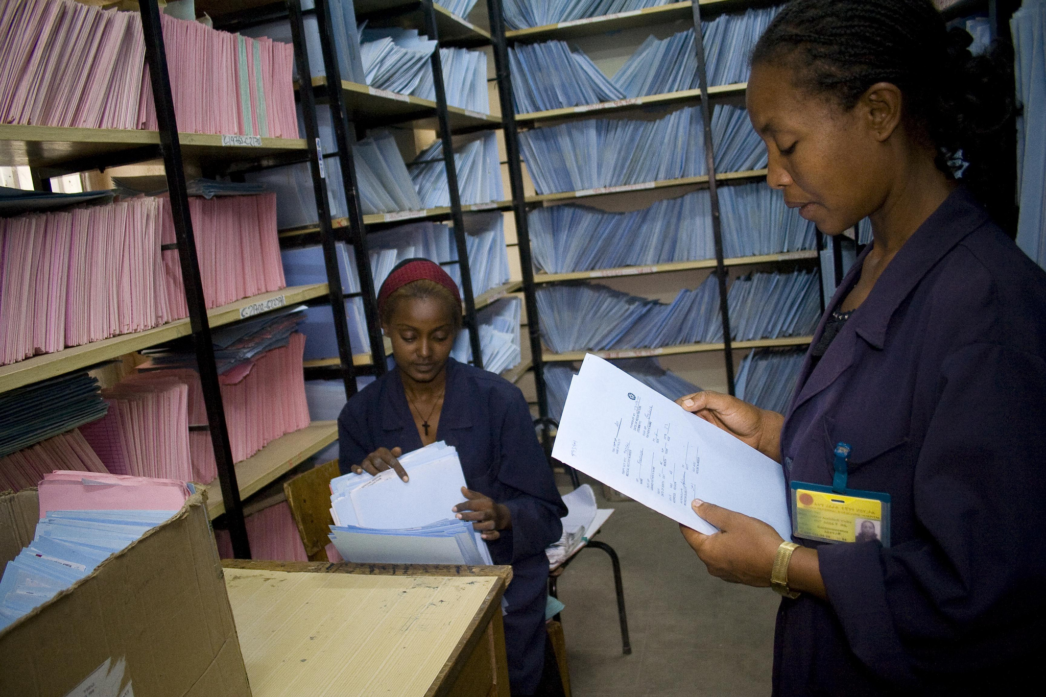 Records staff at a hospital in Ethiopia